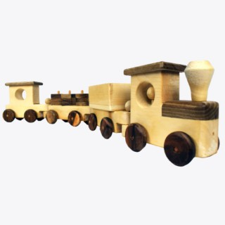 Wooden Train Set - Natural Big Sized 4 Wagoons