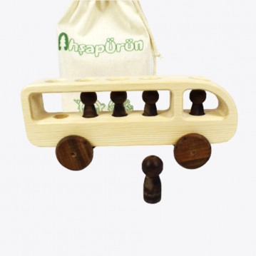 Wooden Bus - Natural Wooden Vehicle Toy