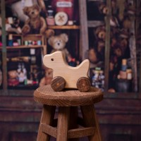 Natural Wooden Dog Car