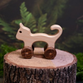 Natural Wooden Cat Car