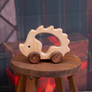 Natural Wooden Hedgehog Car