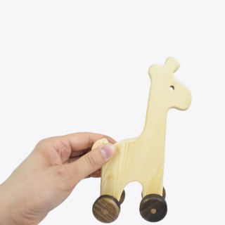 Natural Wooden Giraffe Car