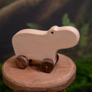 Natural Wooden Hippo Car