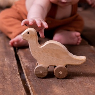 Natural Wooden Dinosaur Car