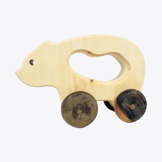 Natural Wooden Bear Car