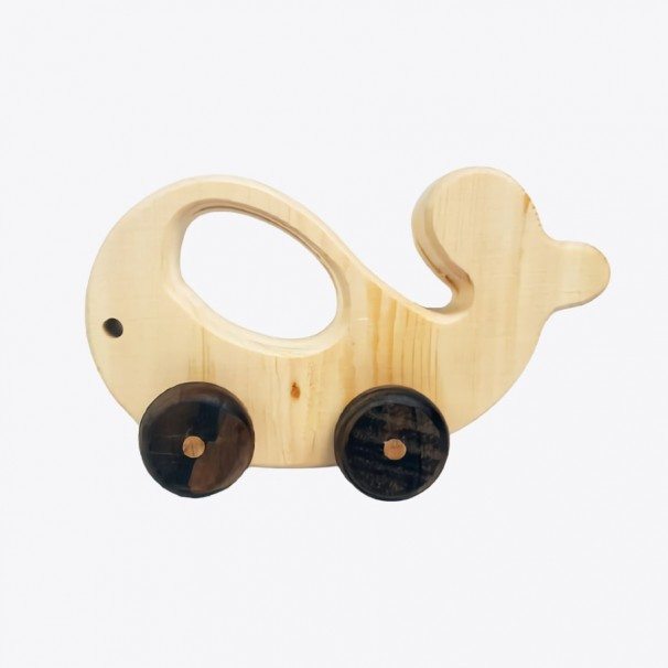 Natural Wooden Whale Car