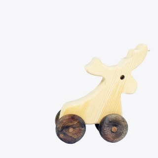 Natural Wooden Deer Car