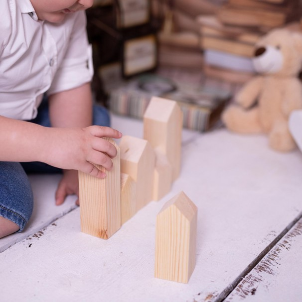 Natural Wooden Buildings ( Paintable - Montessori)