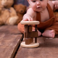 Wooden Cylinder Rattle For Babies