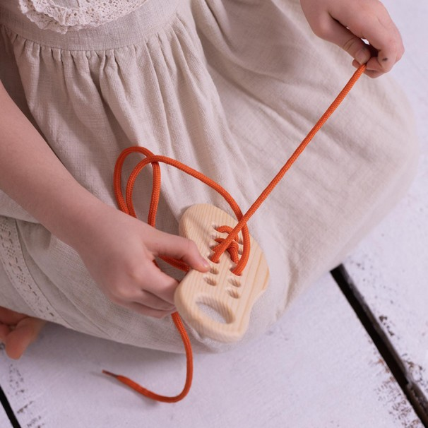 Wooden Lacing Up Shoe  - Natural Wooden Educational Toy