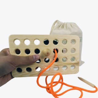 Button Wooden Lacing Toy