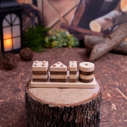 Natural Perforated Wooden Geometric Shaped Find, plug