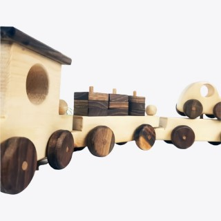 Natural Wooden Train Set - Big Sized 6 Wagoons