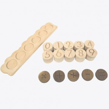 Wooden Math - 4 Operation Game ( 36 Pieces - designed as Montessori Material)