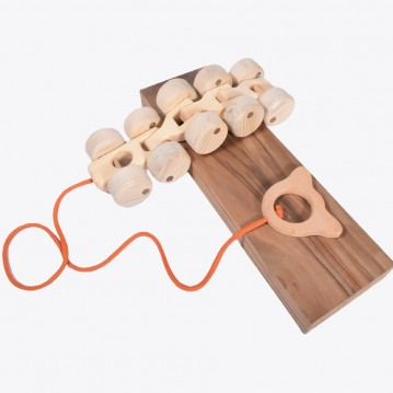 Natural Wooden Caterpillar Toy with 10 Wheels
