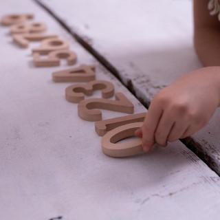 "Natural Wooden Number Set  (0-9) - ""Beech"""
