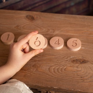 Natural Wooden Circular Numbers Set