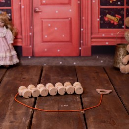Natural Wooden Caterpillar Toy with 14 Wheels
