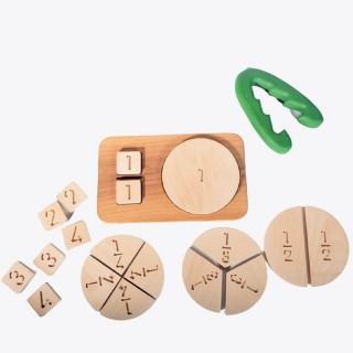 Wooden Math Fraction Chart (Montessori - 100% Natural) - Educational Toy