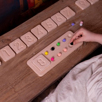 Wooden Numbers and Tables Toy with Pompon (Montessori - 100% Natural) - Educational Toy