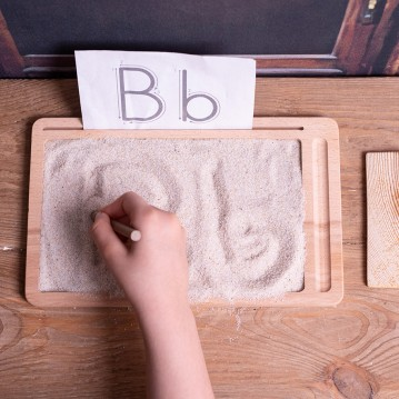 Wooden Sand Board (Montessori -% 100 Natural) -Educational Toy