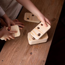 Wooden Cloudy with Holes (1-6 Numbers) - Natural Wooden Educational Toy