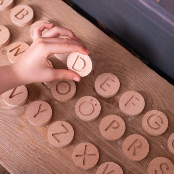 Wooden Round Letter Set - Natural Wooden All Letters - Educational Toy