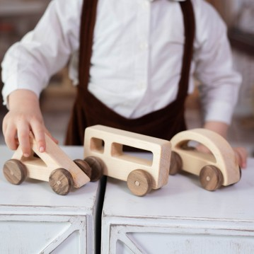 Geometric Wooden Toy Cars